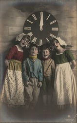 Dutch Children Standing Under Clock