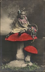 Art Little Girl Sitting Atop Mushroom Holds Flower Basket