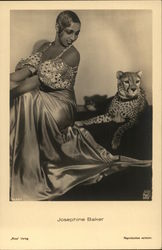 Josephine Baker with Leopard Postcard