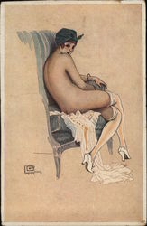 Woman Sitting in Chair Nude