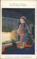 Child Warming Her Behind Near Glowing Heater