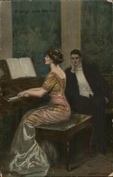 Man Watching Woman Playing Piano