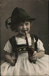 Little Girl in White Dress With Pipe