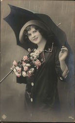 Tinted Woman With Black Umbrella and Pink Bouquet