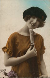 Art Deco Young Woman with Umbrella
