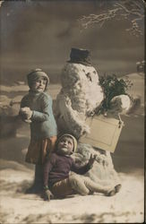 Art Deco Kids with Snowman