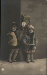 Children Standing by Mail Slot