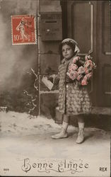 Girl Carrying Roses Mailing Letter