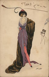 Woman Models Fashionable Dress, Hat, And Fur Coat Art Deco