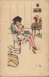 Woman in Underclothes Sitting in Chair - Art Deco