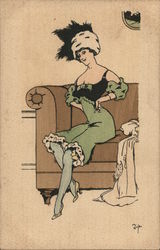 Art Deco Shapely Woman on Couch in Green Dress, Plumed Hat