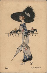 Art Deco Fashionable Woman at a Horse Race, Large Hat