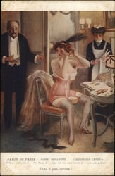 Woman in Corset at Dressing Table, Man and Maid Nearby