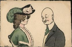Bald Man Smiling at Woman in Green Dress and Hat