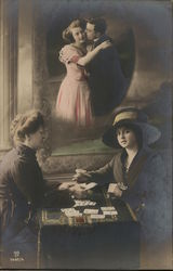 Woman Thinking About Her Man While Playing Cards