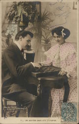 Young Couple Playing Checkers