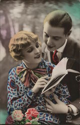 Art Deco Couple Close Together Looking at a Book