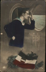 Foreign Sailor Looking Out Porthole