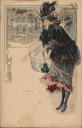 French Woman Carrying Hat Box