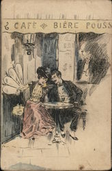 French Couple at the Cafe, Art Nouveau