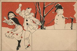Pierrot Couple Dressed as Clowns Playing in Snow