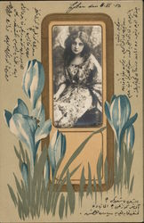 Long Haired Woman, Flowers, Embossed