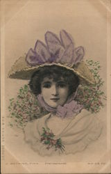 Woman in Hat With Purple Ribbon