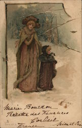 A Woman and Child Walking Through the Snow