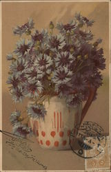Bunch of Blue Flowers in Pitcher Postcard