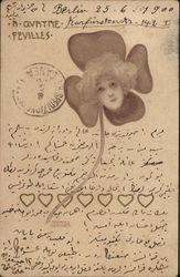 Woman's Face Upon Four-Leaf Clover, Hearts
