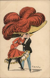 Man Kissing Woman With Large Hat