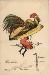 Woman Flying on Umbrella with Large Rooster Hat