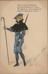 La Femme Soldat - Woman with Walking Stick and Rifle on Mountain