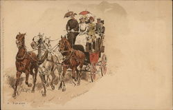 Women Riding in Horse Pulled Wagon