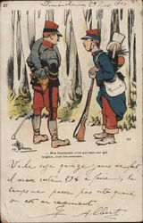 Two Soldiers Talking in Woods