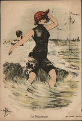 Woman on Beach in Bathing Costume