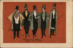 Five Men With Top Hats, Canes and Long Coats