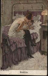 Two Young Women, One Laying and One Sitting on Bed