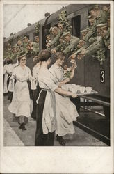 Girls Providing Refreshments for Soldiers