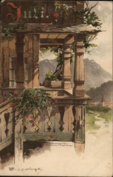 July Balcony with Flowers and Ivy, Town in Background