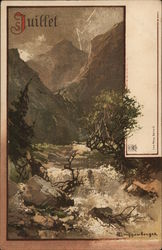 French: July View of Rapid Water Near Trees, Mountains in Background