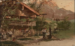 People Standing In Front of Lodge, Mountains in Background