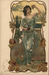 Woman eating grapes in Art Nouveau Style