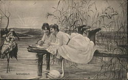 Girls Near the Water on Pier, Baby on Stork