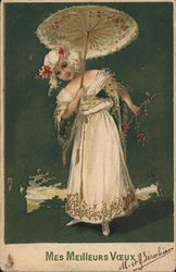 Lady in White With Parasol