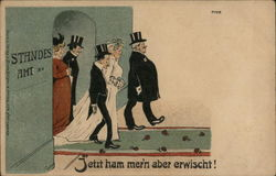 German: Wedding Couple Leaving Building (Unhappy Groom)