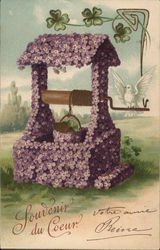 Well with Bucket Covered in Purple Flowers, White Bird Postcard