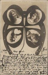 Four-Leaf Clover with Pictures of Four Women on Horseshoe
