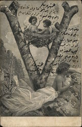 Letter V - Woman at Beach With Cupid in Nest