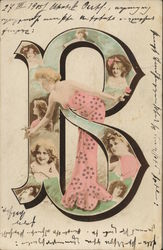 Letter B with Faces, Woman in Pink Gown